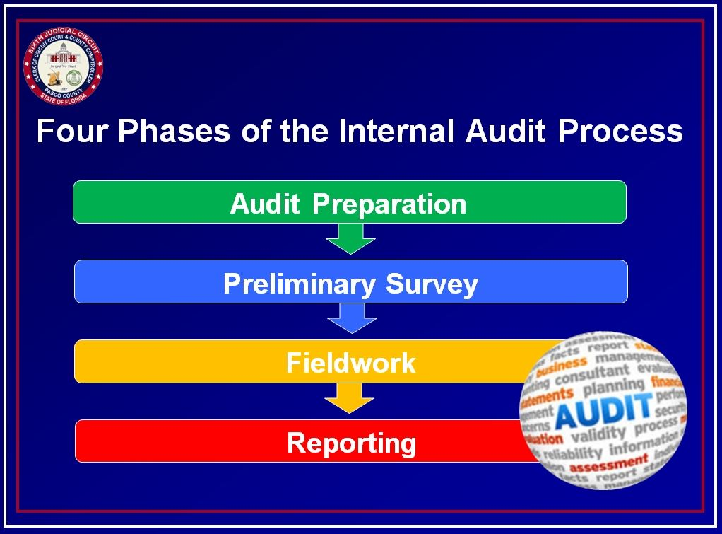 Four Phases of the Audit Process: Audit Preparation, Preliminary Survey, Fieldwork, Reporting