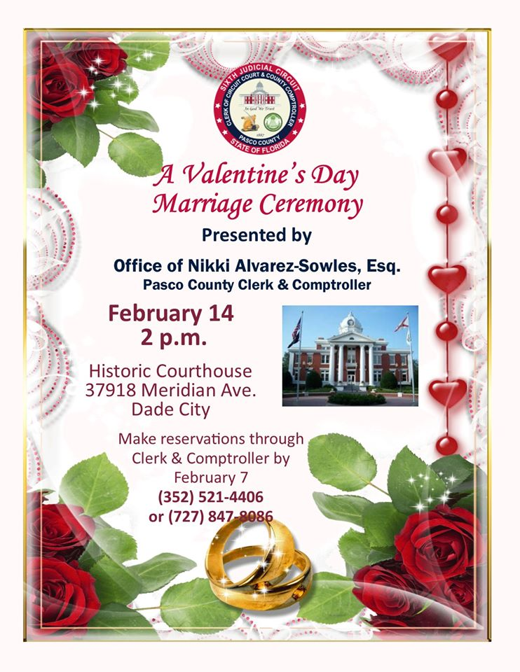 Flyer describing details of 12th annual Valentine's Day Wedding Ceremony: 2 p.m., February 14, at
