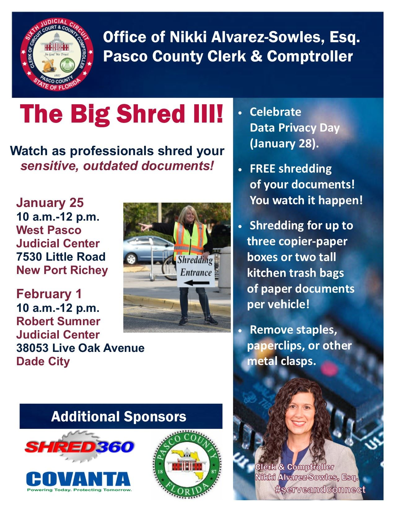 The Big Shred III flyer showing times, locations, and instructions for the Pasco Clerk & Comptroller