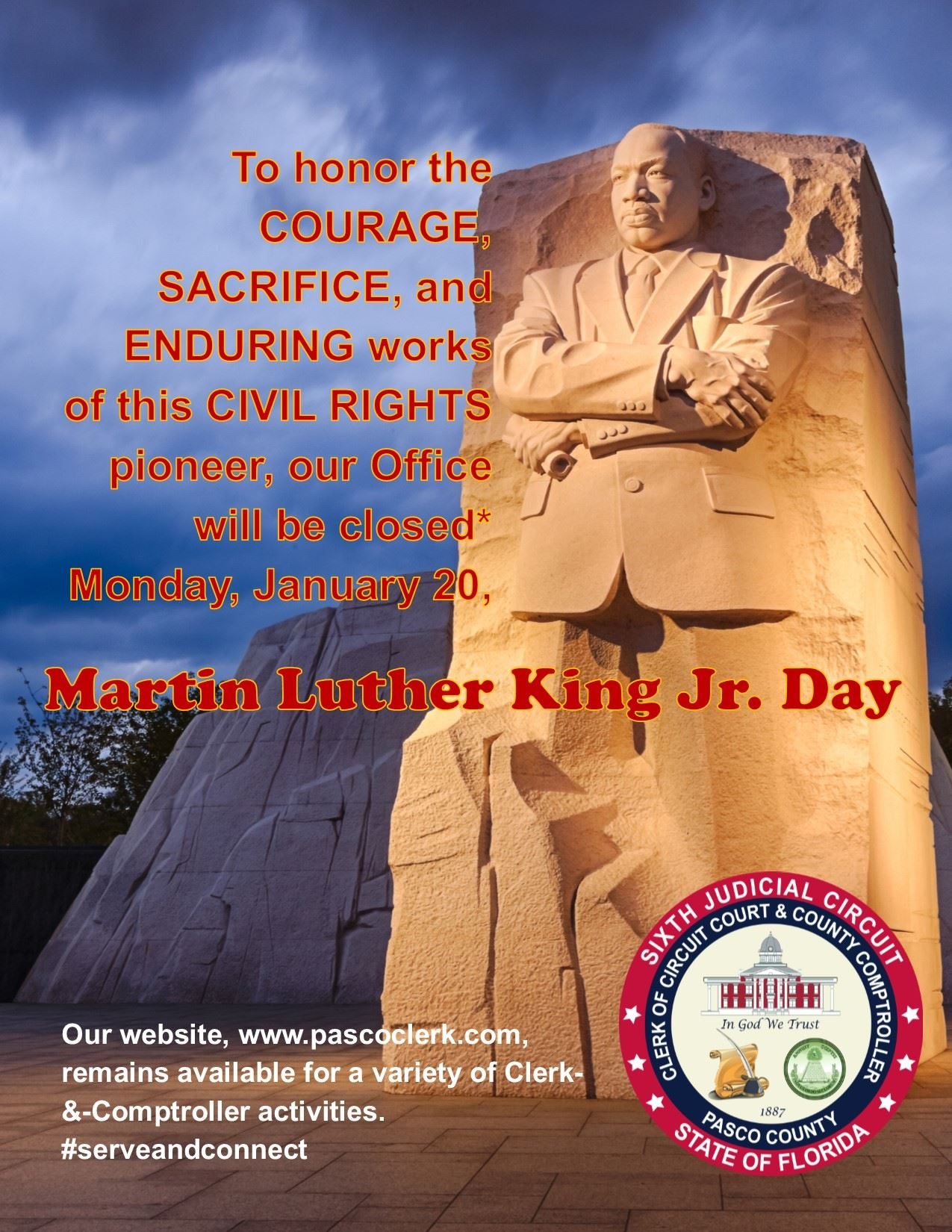 Photo of Martin Luther King Jr.'s statue, part of his Washington D.C. memorial, accompanies annou