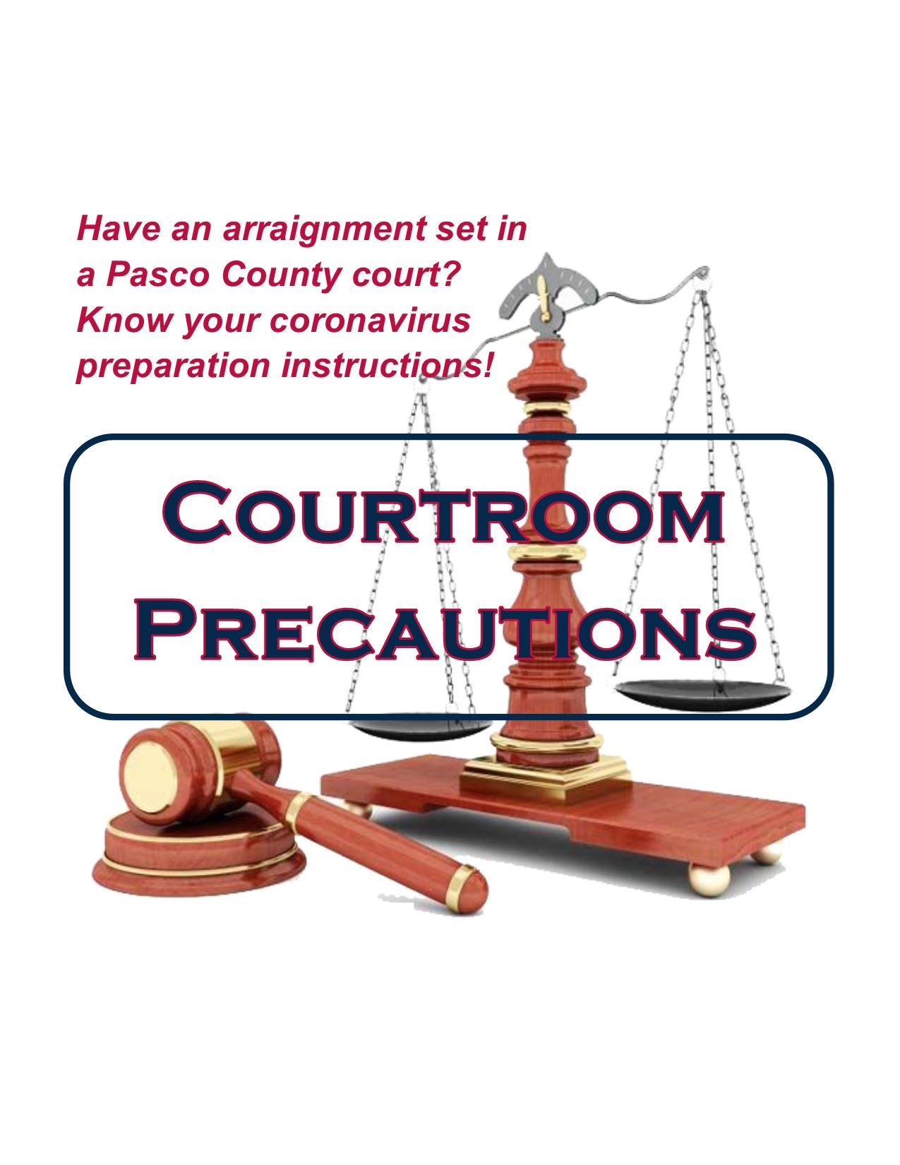 A twin-pan scale and a gavel on a white background. Bold blue letters read Courtroom Precautions. In