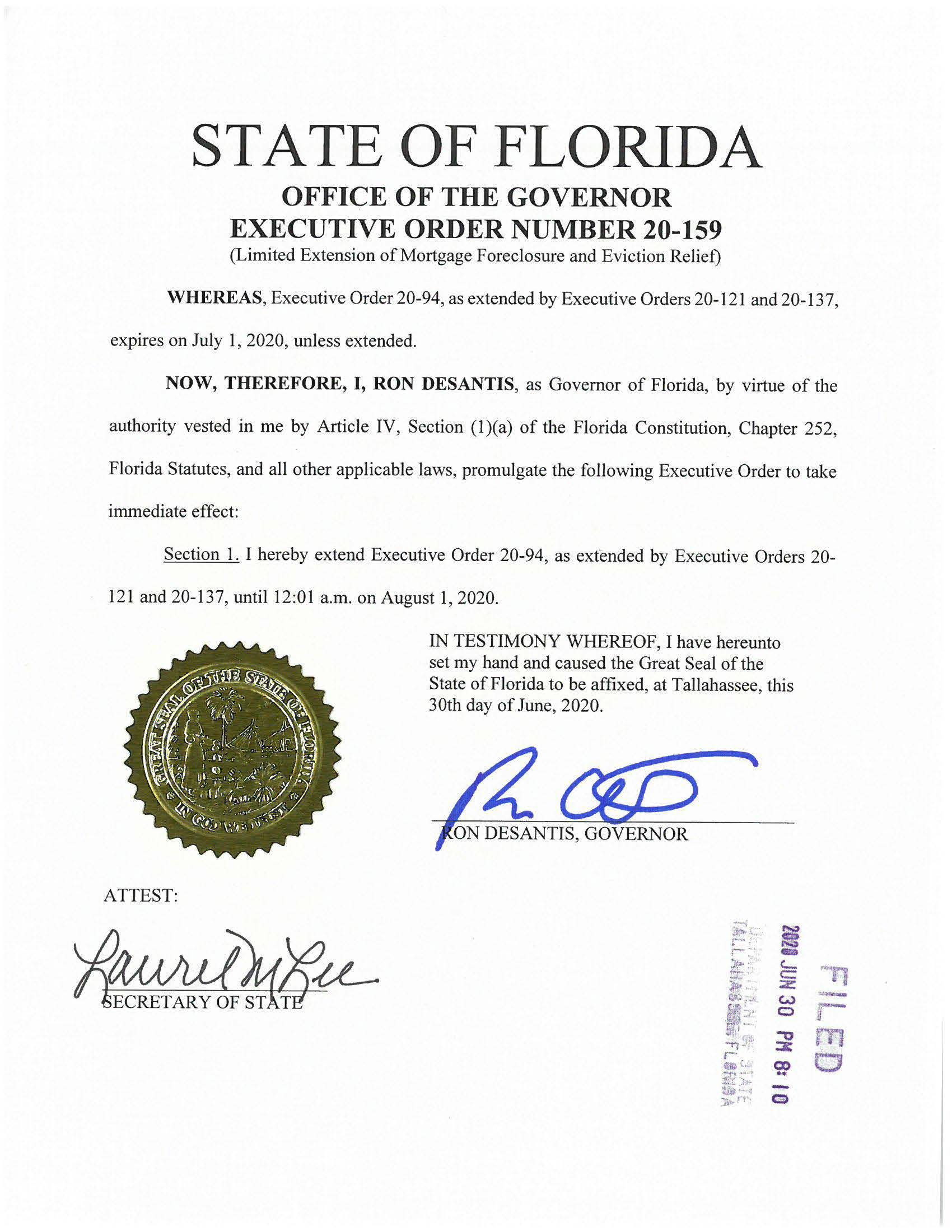 Black type on white background showing State of Florida, Office of the Governor, Executive Order Num