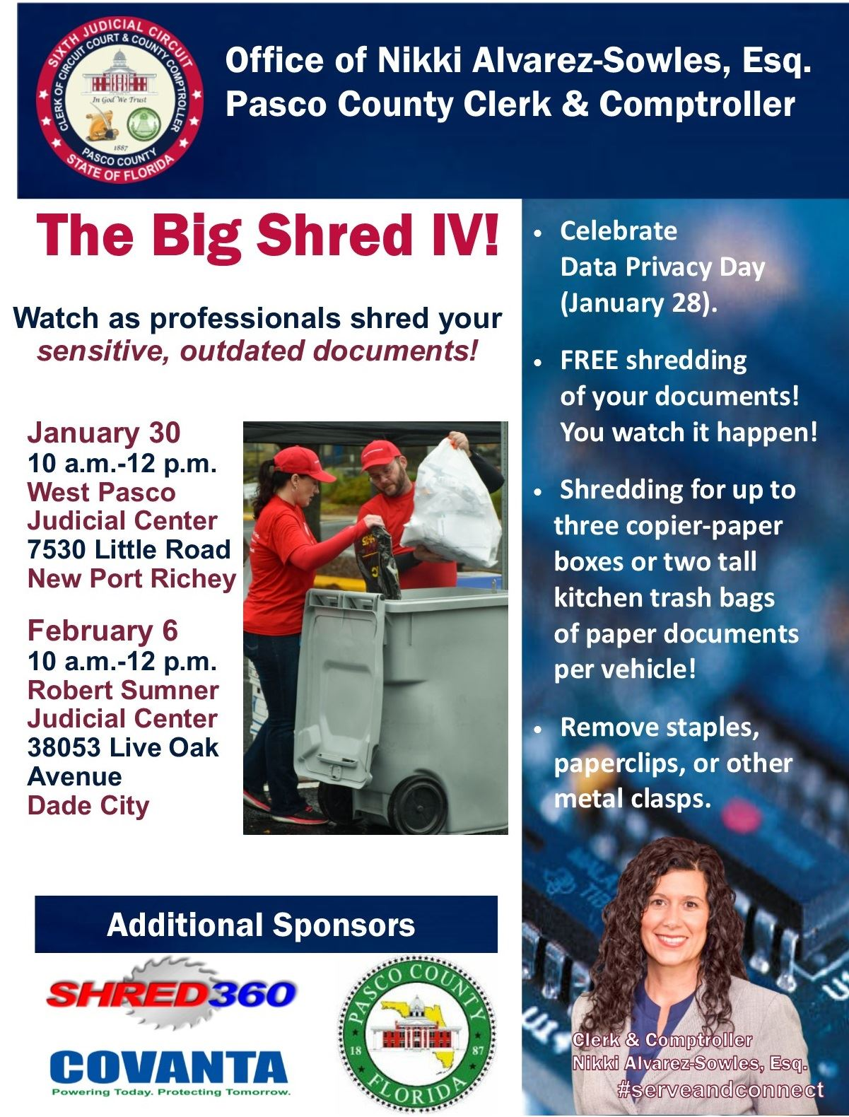 Big Shred IV announcement with man and woman in red T-shirts dumping documents in large trash can.