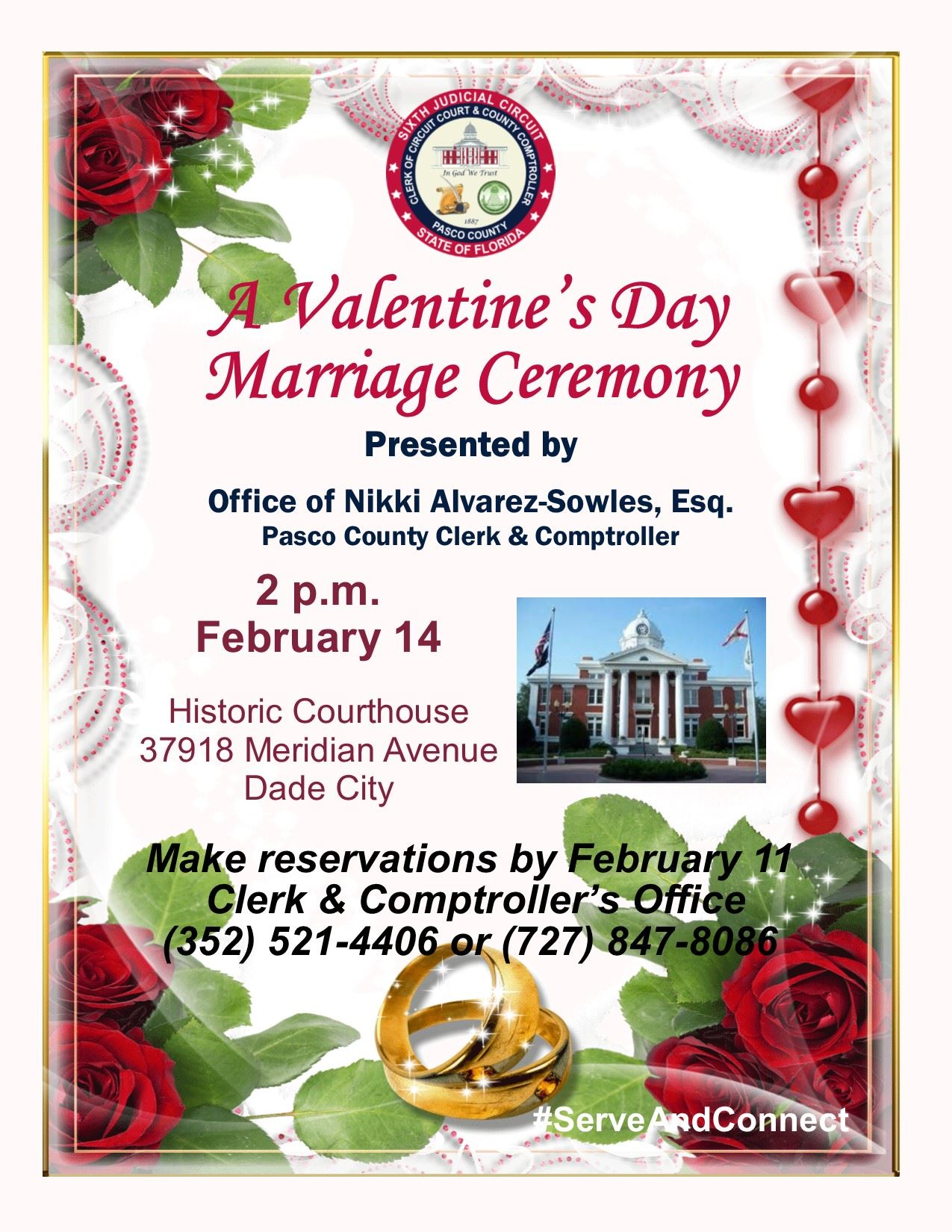 Roses, hearts and red beads frame Valentine&#39s Day marriage flyer. Courthouse, gold rings displaye